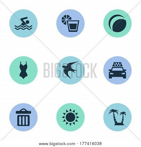 Vector Illustration Set Of Simple Seaside Icons. Elements Beverage, Sun, Garbage And Other Synonyms Man, Holiday And Dustbin.