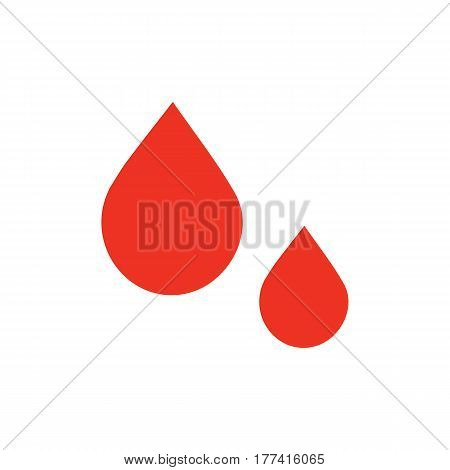 Red blood icon in flat style. Isolated blood icon on white background for use in variety of projects. Minimal vector blood icon for web sites and apps.