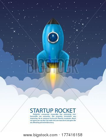 Space rocket launch, Startup creative idea, Rocket background, Vector
