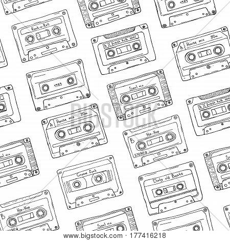 Seamless pattern, plastic cassette, audio tape with different music, Hand drawn contour background, retro style.