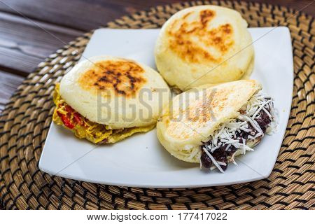 Three different types of arepa, the typical dish of venezuela