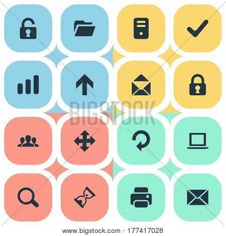 Vector Illustration Set Of Simple Apps Icons. Elements Upward Direction, Statistics, Notebook And Other Synonyms Up, Computer And Message.