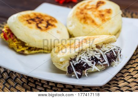 Venezuelan typical food, Arepa with different ingredient
