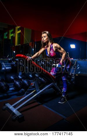 Beautiful strong woman in the gym - latissimus and shoulder exercises on the bench with dumbbells. wide angle HDR photo.