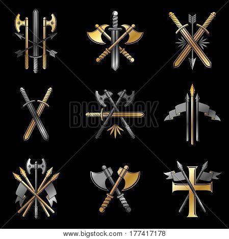 Vintage Weapon Emblems Set. Heraldic Coat Of Arms, Vintage Vector Emblems Collection.