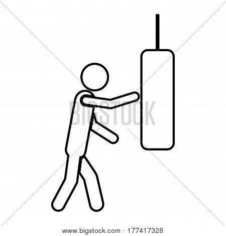 person knocking punching bag, vector illustration desiign