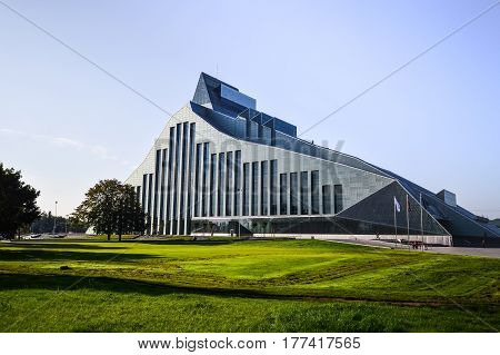RIGA, LATVIA - SEPTEMBER, 2014: The modern building of National Library in Riga, Latvia
