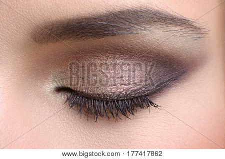 Eye makeup. Close up macro shot of a closed female eye with shadows applied makeup visage maquillage beauty cosmetic products mascara lashes eyebrow skincare concept