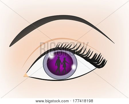 An eye where one can see the mirror image of a couple walking hand in hand.