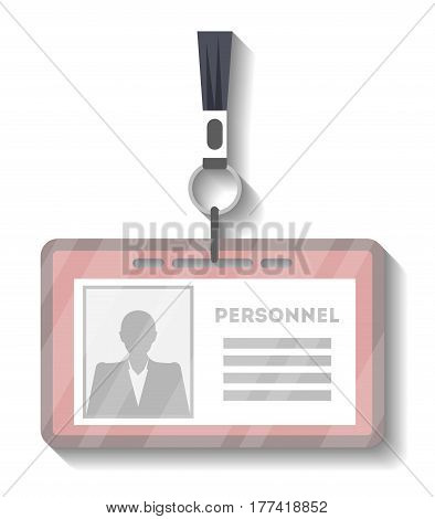 Blank plastic access card with lanyard template vector illustration isolated on white background. Blank plastic id badge, name tag holder with pin ribbon