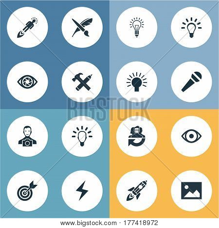 Vector Illustration Set Of Simple Creative Thinking Icons. Elements View, Accuracy, Cameraman And Other Synonyms Team, Paint And Boost.