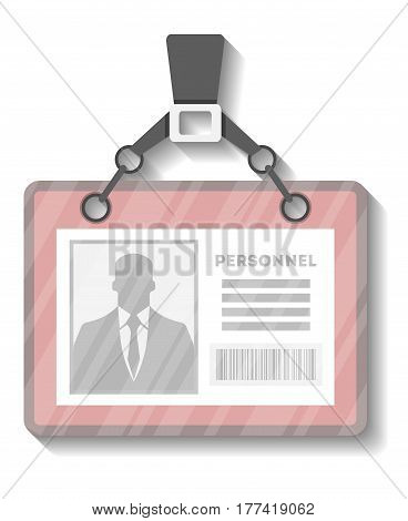 Identification name tag holder template vector illustration isolated on white background. Blank plastic id card, pass badge with pin ribbon or lanyard
