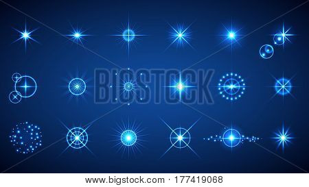 Light effects set. Vector illustration of abstract glowing lights flashes lens flares stars and sparkles for your design