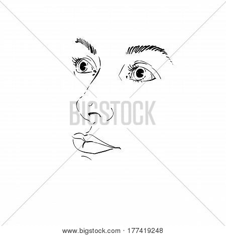 Hand-drawn art portrait of white-skin romantic woman silhouette of woman face. Face emotions theme illustration. Peaceful lady posing on white background outline.