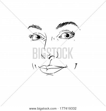 Vector art drawing portrait of gorgeous happy smiling girl isolated on white. Facial expressions people positive emotions. Features of beautiful girl.