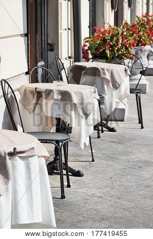 Many Tables And Chairs Outdoor