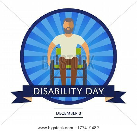 December 3 - world disability day greeting card template vector illustration. Invalid person, young disabled man on wheelchair in flat design. Healthcare assistance and accessibility concept