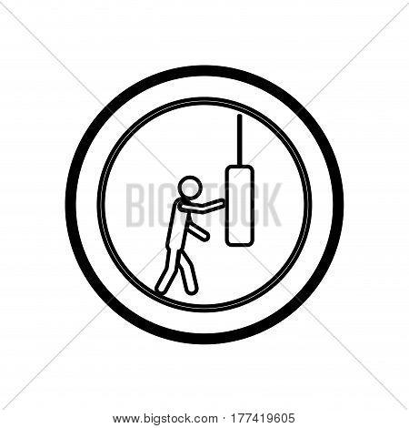 symbol person knocking punching bag, vector illustration desiign