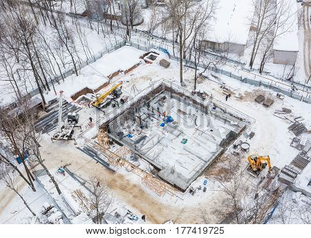 the construction of the Foundation concrete monolith winter