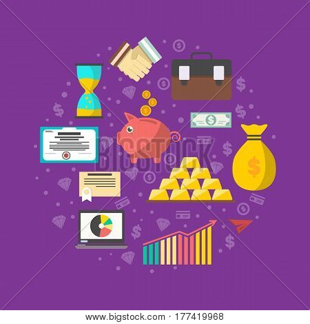Investment in securities vector illustration. Investing in stocks, gold, currency, bill, bond. Strategic management for marketable securities, save money, financial analysis and business planning.