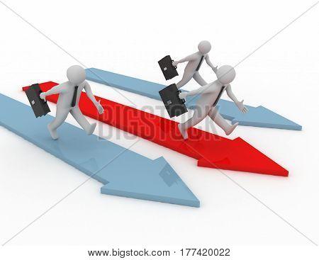 3D Rendering - Running Businessmen Concept On Whitem Background
