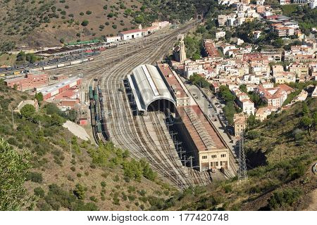 Elevated View Of Train Station Of Portbou, Girona Province,catalonia,spain