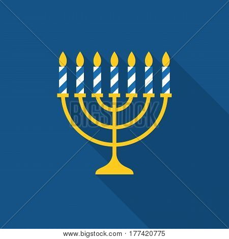 Menorah and seven stripe candles icon with long shadow, flat design