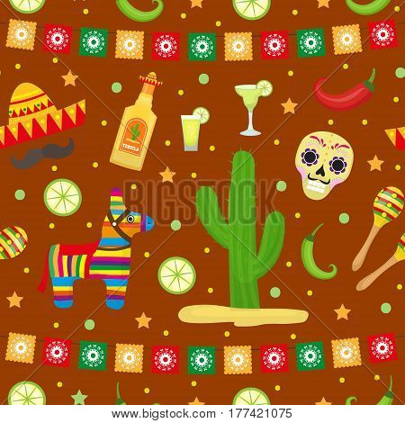 Cinco de Mayo seamless pattern. Mexican holiday endless background, texture. Vector illustration
