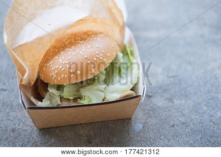 Classic American burger food in Box, fast food concept