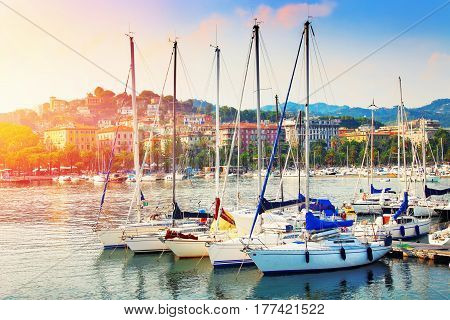 Many yachts in the harbor in La Spezia Liguria province Italy. Summertime leisure.