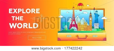 Explore the World - modern vector line travel illustration. Discover Russia, England, USA, France. World famous landmarks in a suitcase - statue of liberty, kremlin, tower