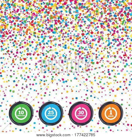 Web buttons on background of confetti. Every 10, 25, 30 minutes and 1 hour icons. Full rotation arrow symbols. Iterative process signs. Bright stylish design. Vector