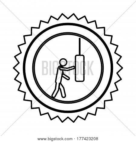 emblem person knocking punching bag, vector illustration desiign