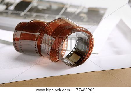 Photographic film roll. Analog film strips. Analog photography.