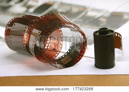 Photographic film roll and cassette. Analog photography.