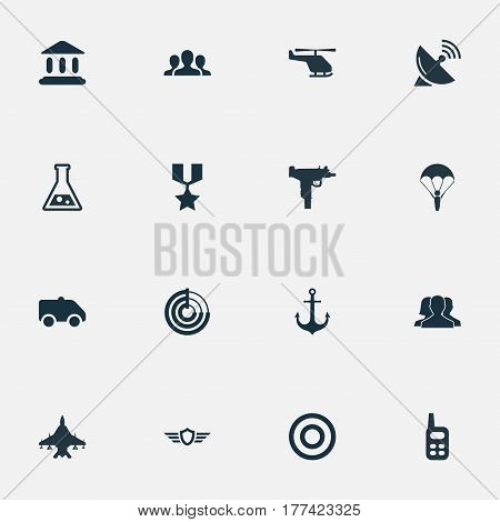 Vector Illustration Set Of Simple Army Icons. Elements Signal Receiver, Courthouse, Emergency And Other Synonyms Force, Laboratory And Aim.