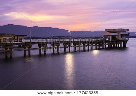 Before the morning light at the water supply pumping station in Bangphra Reservoir, Chonburi province, Thailand. , Thailand. ,water supply station in Chonburi Thailand