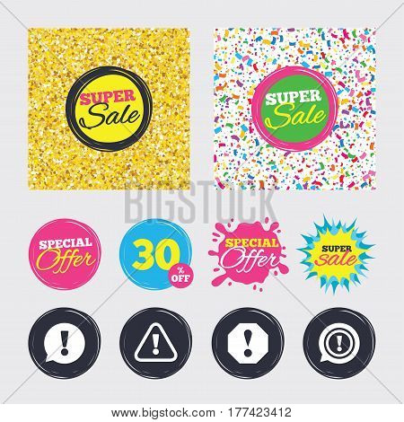 Gold glitter and confetti backgrounds. Covers, posters and flyers design. Attention icons. Exclamation speech bubble symbols. Caution signs. Sale banners. Special offer splash. Vector