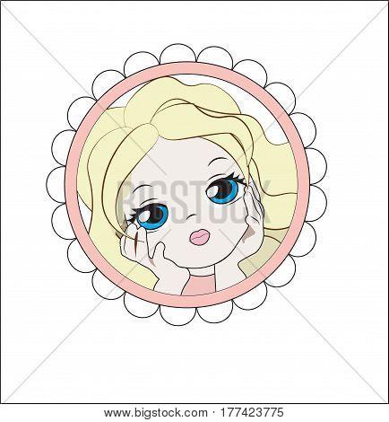 face of the lovely little girl the blonde in a flower frame