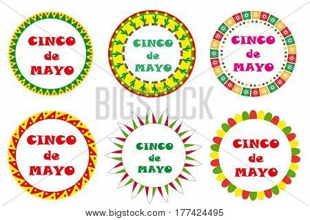 Cinco de Mayo set of round frames with space for text. Isolated on white background. Vector illustration