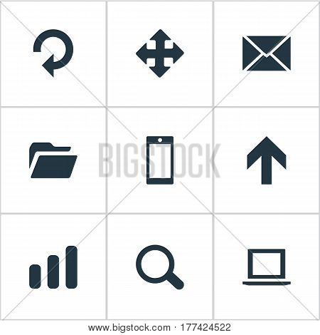 Vector Illustration Set Of Simple Practice Icons. Elements Statistics, Refresh, Arrows And Other Synonyms Invitation, Statistics And Computer.