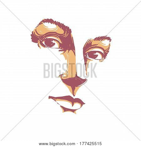 Hand-drawn art portrait of white-skin romantic woman face emotions theme illustration. Beautiful lady posing on white background delicate visage features.
