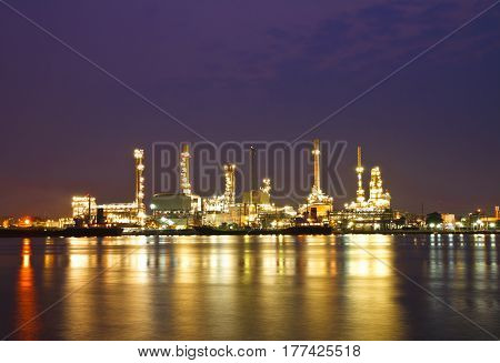 Petrochemical oil refinery plant at twilight Bangkok Thailand