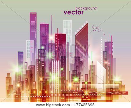 Night City Skyline, Vector Illustration