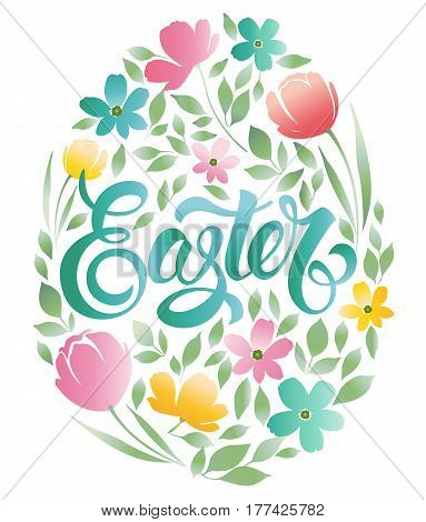Decorative doodle frame from Easter eggs and floral elements. Easter eggs with ornaments in circle shape. Easter greeting card.