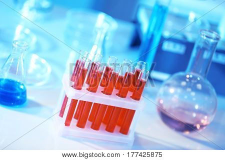 Test tubes with blood in laboratory on table