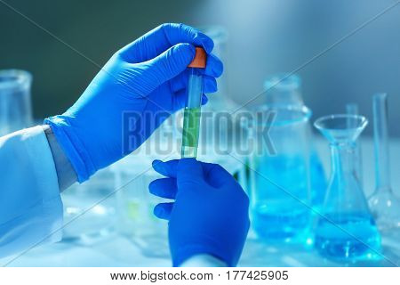 Hands in gloves holding test tube, closeup