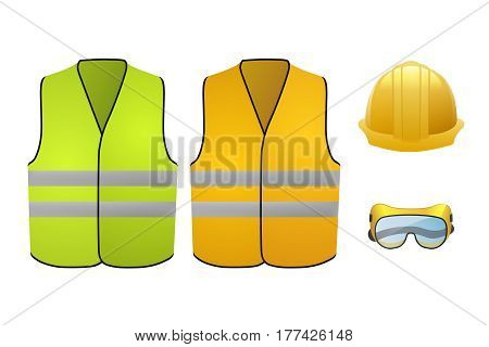 Equipment builder. Protective helmet, glasses and vests