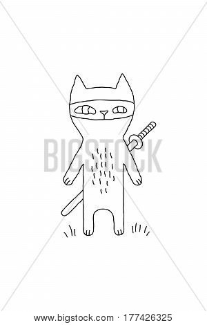 Outline cartoon cat illustration with ninja cat and a sword. Cute vector black and white cat illustration. Monochrome doodle cat illustration for prints, posters, t-shirts, covers and cards.
