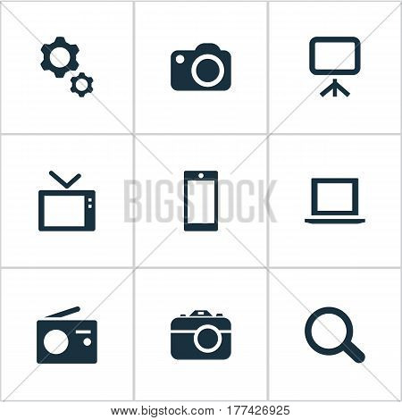 Vector Illustration Set Of Simple Device Icons. Elements Smartphone, Photographing, Options And Other Synonyms Radio, Display And Computer.